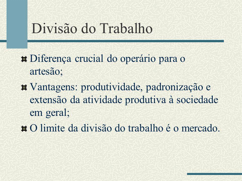 Divisão do Trabalho Diferença crucial do operário para o artesão; Vantagens: produtividade, padronização e extensão da atividade produtiva à sociedade