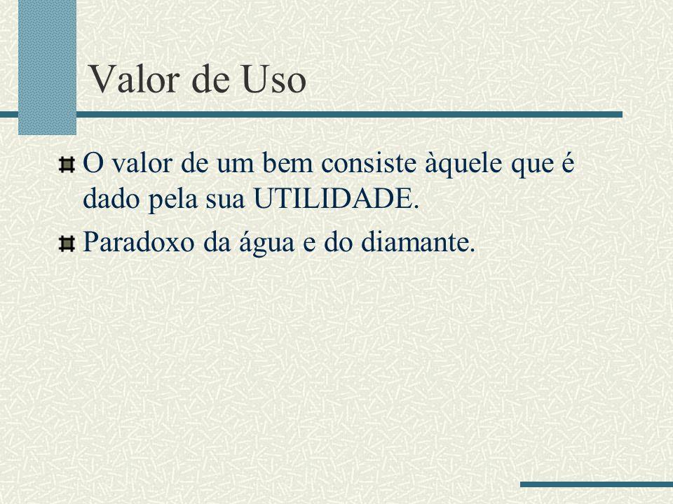 Valor de Uso O valor de um bem consiste àquele que é dado pela sua UTILIDADE. Paradoxo da água e do diamante.