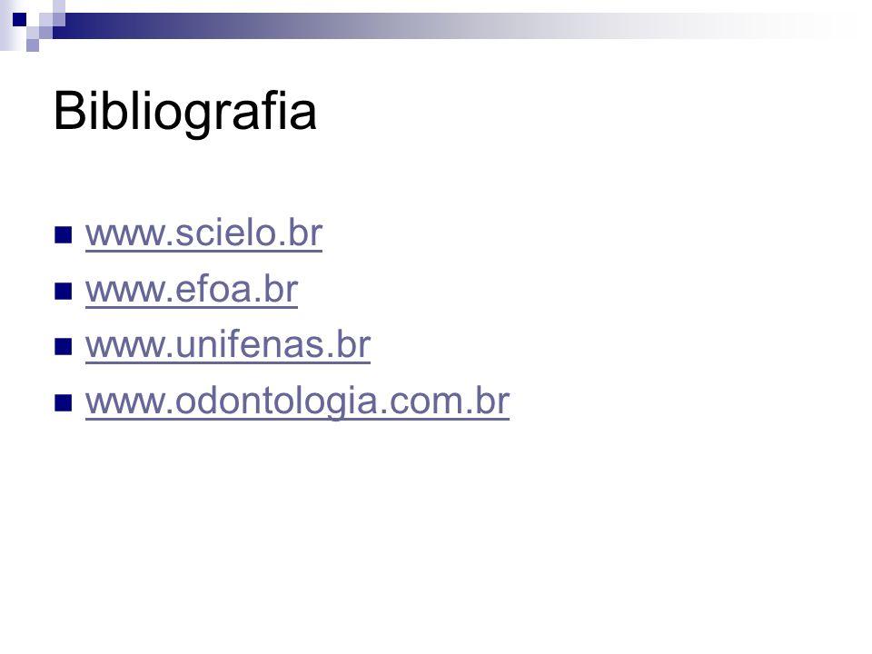 Bibliografia www.scielo.br www.efoa.br www.unifenas.br www.odontologia.com.br
