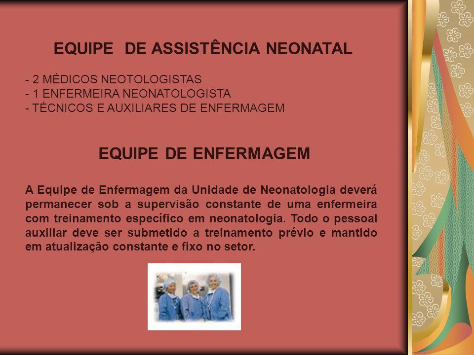 EQUIPE DE ASSISTÊNCIA NEONATAL - 2 MÉDICOS NEOTOLOGISTAS - 1 ENFERMEIRA NEONATOLOGISTA - TÉCNICOS E AUXILIARES DE ENFERMAGEM EQUIPE DE ENFERMAGEM A Eq