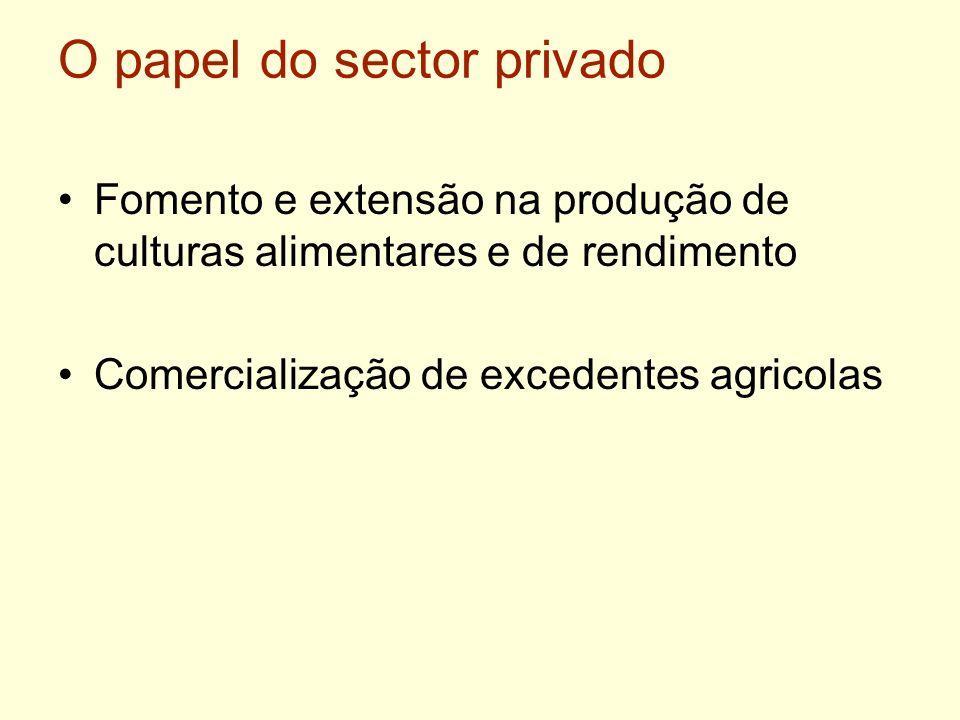 O papel do sector privado Fomento e extensão na produção de culturas alimentares e de rendimento Comercialização de excedentes agricolas