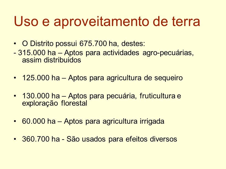 Uso e aproveitamento de terra O Distrito possui 675.700 ha, destes: - 315.000 ha – Aptos para actividades agro-pecuárias, assim distribuidos 125.000 h