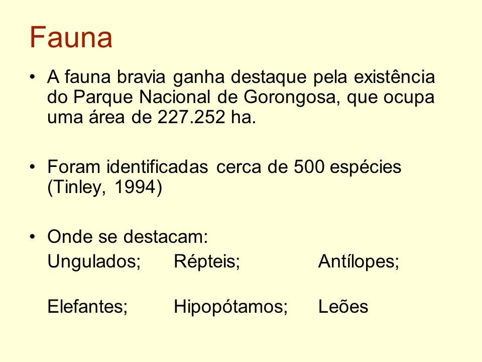 Fauna A fauna bravia ganha destaque pela existência do Parque Nacional de Gorongosa, que ocupa uma área de 227.252 ha. Foram identificadas cerca de 50