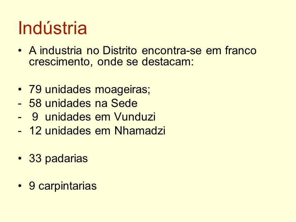 Indústria A industria no Distrito encontra-se em franco crescimento, onde se destacam: 79 unidades moageiras; -58 unidades na Sede - 9 unidades em Vun