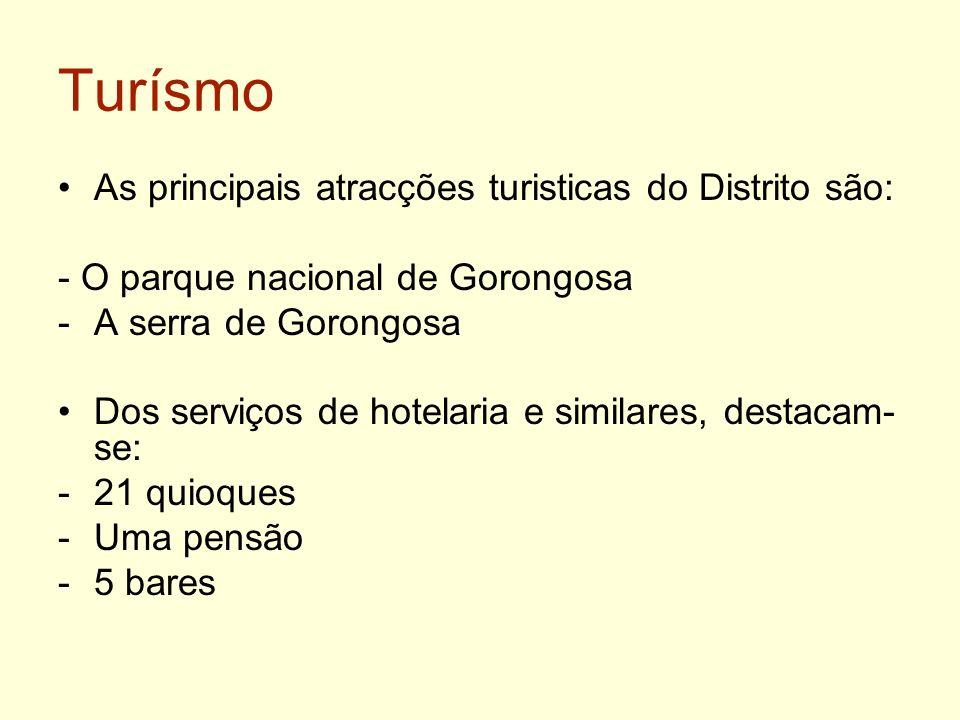 Turísmo As principais atracções turisticas do Distrito são: - O parque nacional de Gorongosa -A serra de Gorongosa Dos serviços de hotelaria e similar