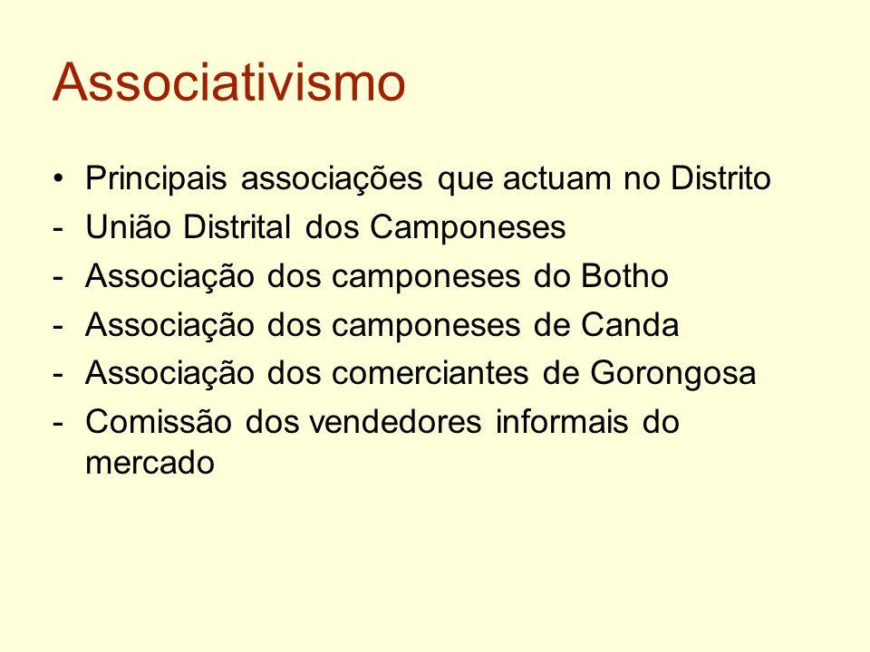 Associativismo Principais associações que actuam no Distrito -União Distrital dos Camponeses -Associação dos camponeses do Botho -Associação dos campo