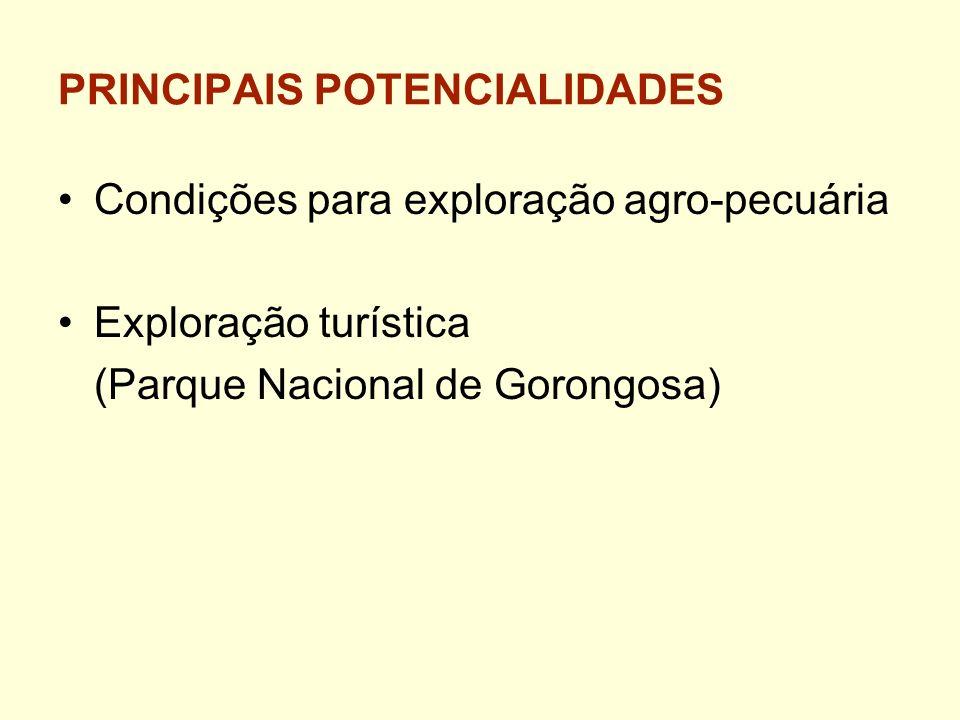 PRINCIPAIS POTENCIALIDADES Condições para exploração agro-pecuária Exploração turística (Parque Nacional de Gorongosa)