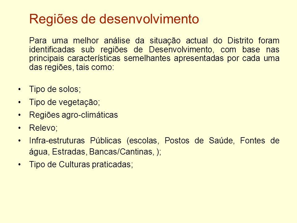 Regiões de desenvolvimento Para uma melhor análise da situação actual do Distrito foram identificadas sub regiões de Desenvolvimento, com base nas pri