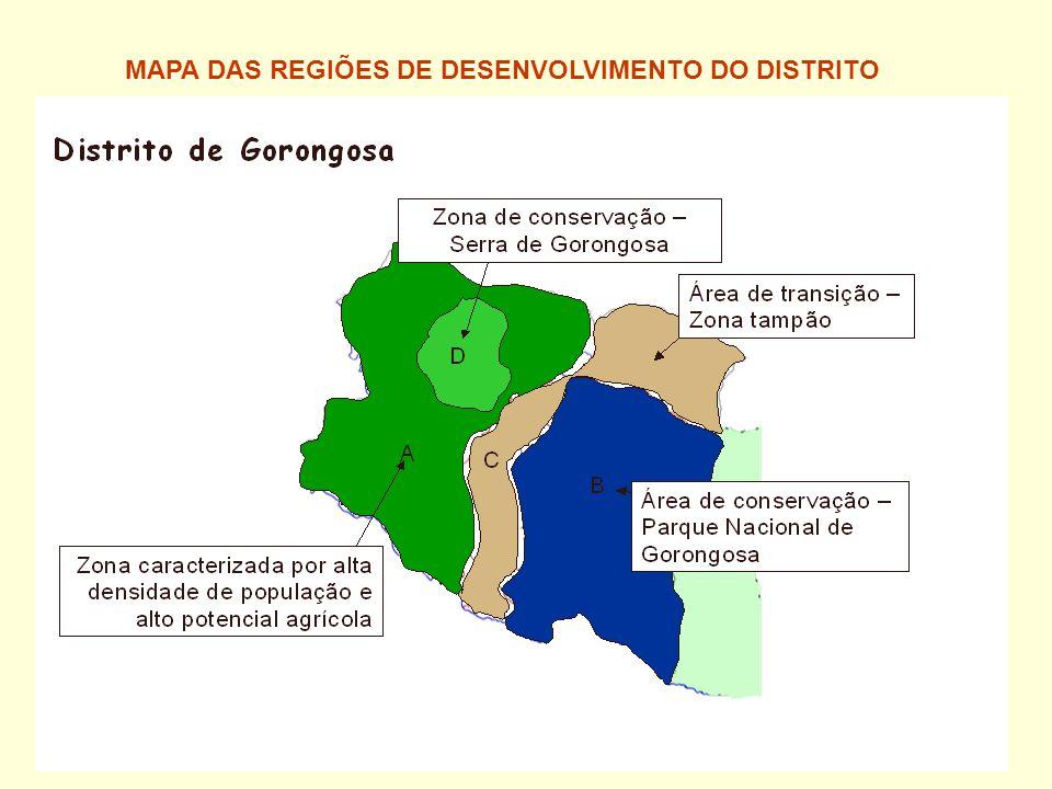 MAPA DAS REGIÕES DE DESENVOLVIMENTO DO DISTRITO