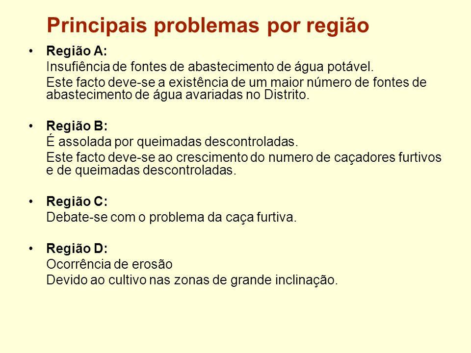 Principais problemas por região Região A: Insufiência de fontes de abastecimento de água potável. Este facto deve-se a existência de um maior número d