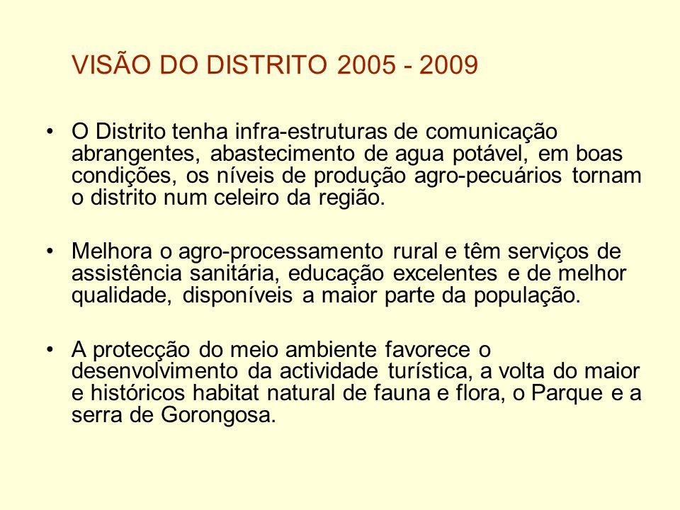 VISÃO DO DISTRITO 2005 - 2009 O Distrito tenha infra-estruturas de comunicação abrangentes, abastecimento de agua potável, em boas condições, os nívei