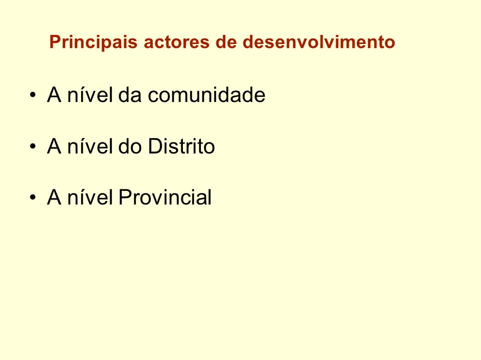Principais actores de desenvolvimento A nível da comunidade A nível do Distrito A nível Provincial