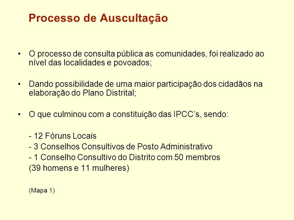 Processo de Auscultação O processo de consulta pública as comunidades, foi realizado ao nível das localidades e povoados; Dando possibilidade de uma m