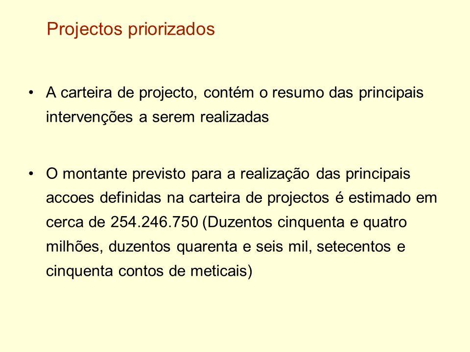 Projectos priorizados A carteira de projecto, contém o resumo das principais intervenções a serem realizadas O montante previsto para a realização das