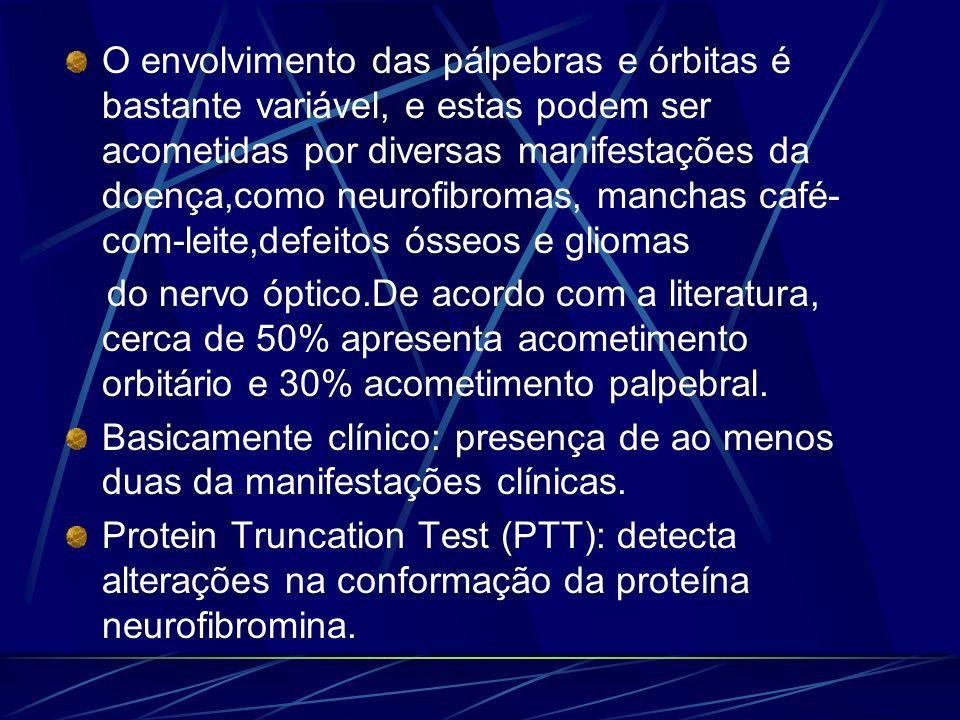 O envolvimento das pálpebras e órbitas é bastante variável, e estas podem ser acometidas por diversas manifestações da doença,como neurofibromas, manc