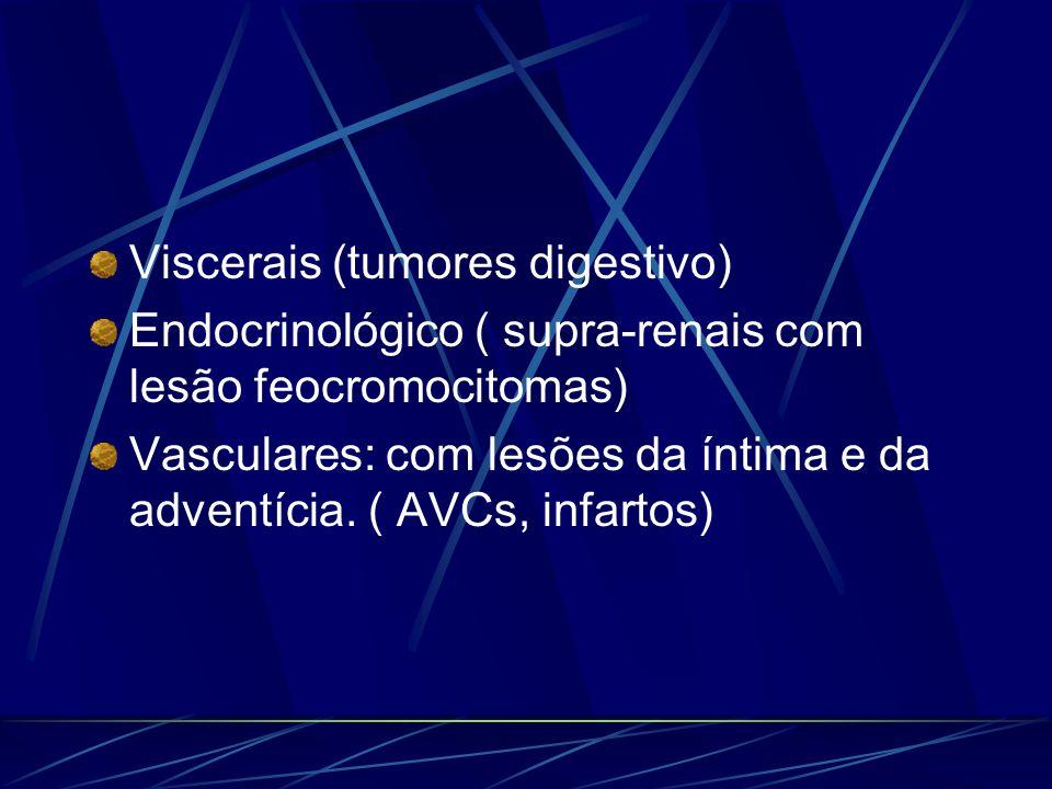 Viscerais (tumores digestivo) Endocrinológico ( supra-renais com lesão feocromocitomas) Vasculares: com lesões da íntima e da adventícia. ( AVCs, infa
