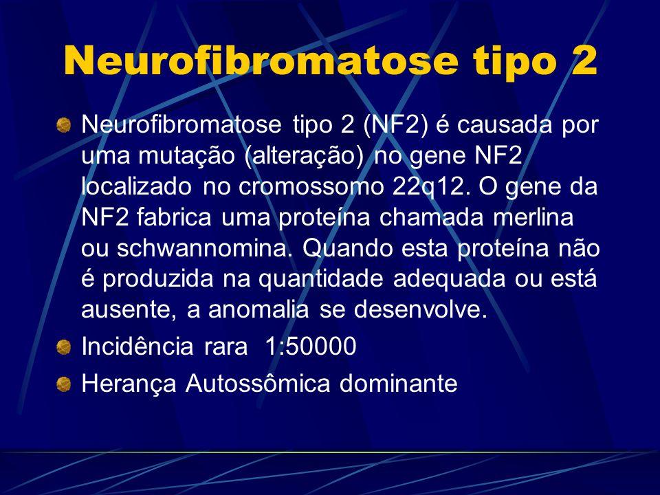 Neurofibromatose tipo 2 Neurofibromatose tipo 2 (NF2) é causada por uma mutação (alteração) no gene NF2 localizado no cromossomo 22q12. O gene da NF2