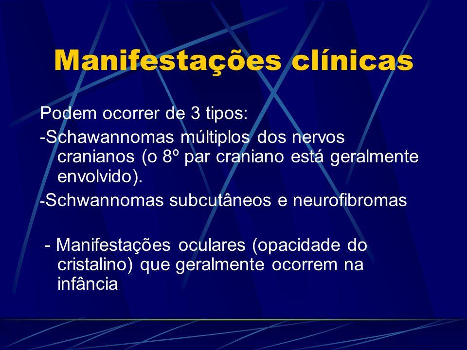Manifestações clínicas Podem ocorrer de 3 tipos: -Schawannomas múltiplos dos nervos cranianos (o 8º par craniano está geralmente envolvido). - Schwann