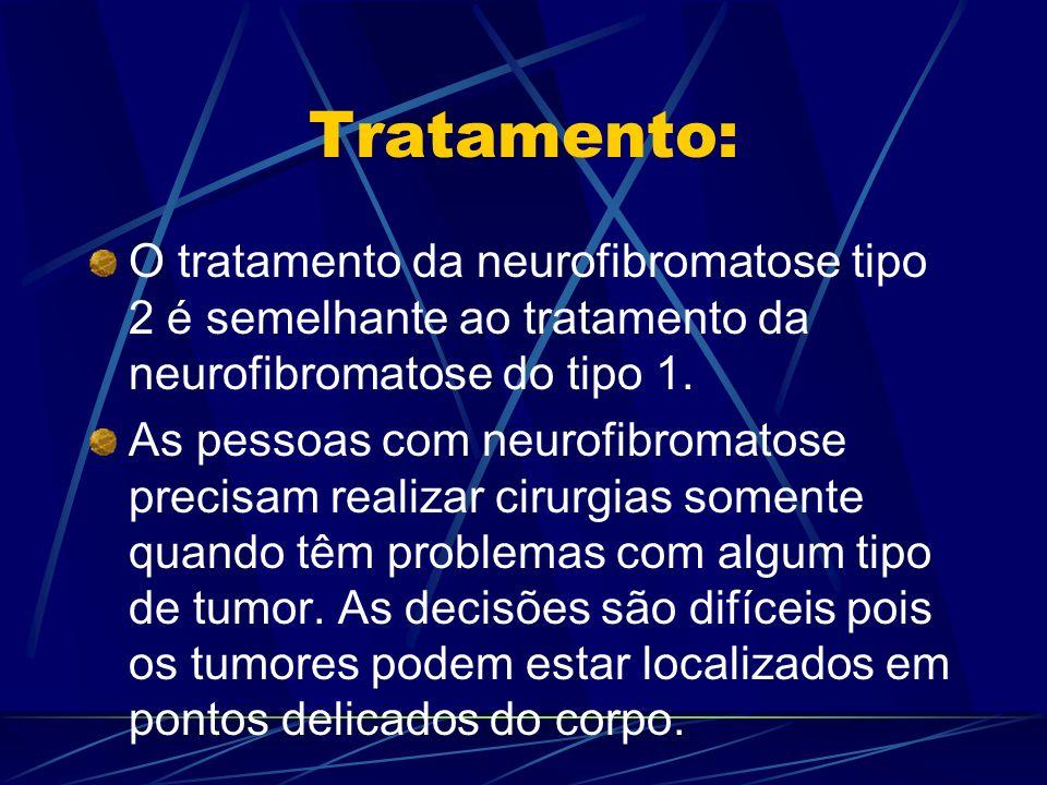 Tratamento: O tratamento da neurofibromatose tipo 2 é semelhante ao tratamento da neurofibromatose do tipo 1. As pessoas com neurofibromatose precisam
