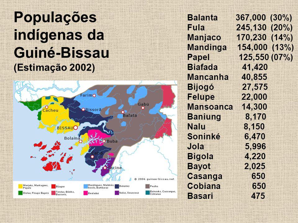 Populações indígenas da Guiné-Bissau (Estimação 2002) Balanta 367,000 (30%) Fula 245,130 (20%) Manjaco 170,230 (14%) Mandinga 154,000 (13%) Papel 125,550 (07%) Biafada 41,420 Mancanha 40,855 Bijogó 27,575 Felupe 22,000 Mansoanca 14,300 Baniung 8,170 Nalu 8,150 Soninké 6,470 Jola 5,996 Bigola 4,220 Bayot 2,025 Casanga 650 Cobiana 650 Basari 475