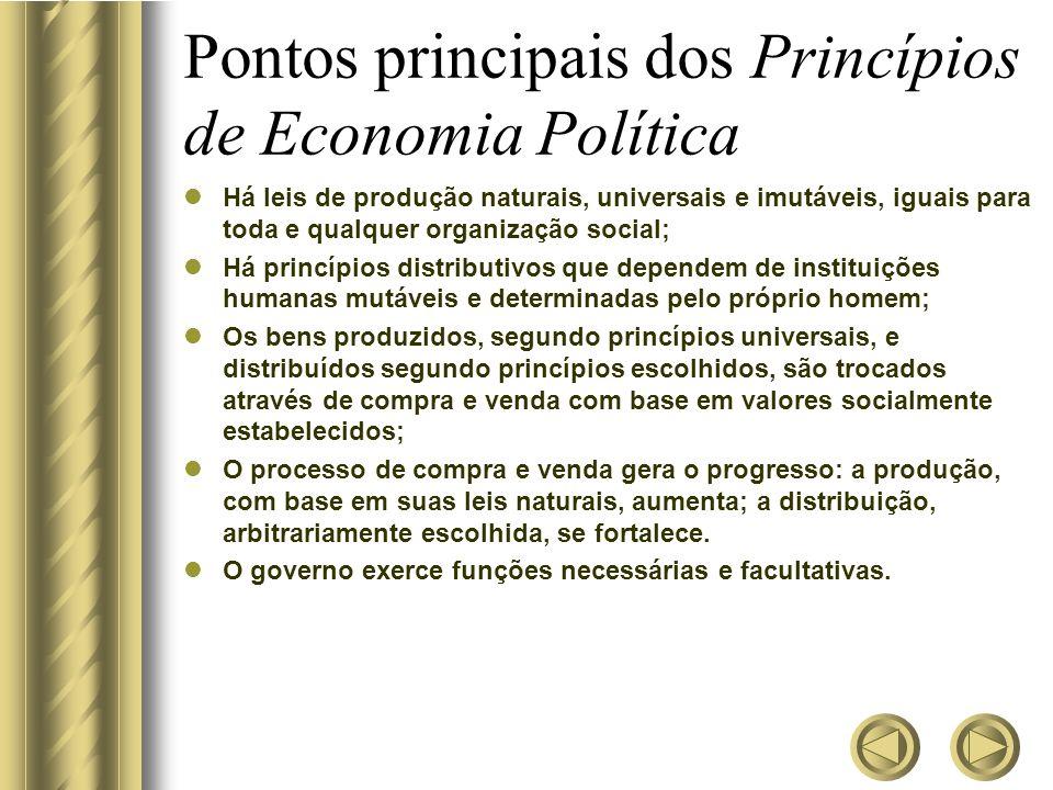 Pontos principais dos Princípios de Economia Política Há leis de produção naturais, universais e imutáveis, iguais para toda e qualquer organização so