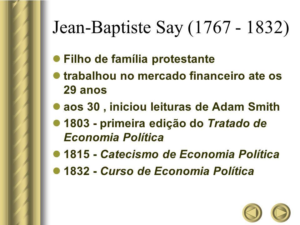 Jean-Baptiste Say (1767 - 1832) Filho de família protestante trabalhou no mercado financeiro ate os 29 anos aos 30, iniciou leituras de Adam Smith 180