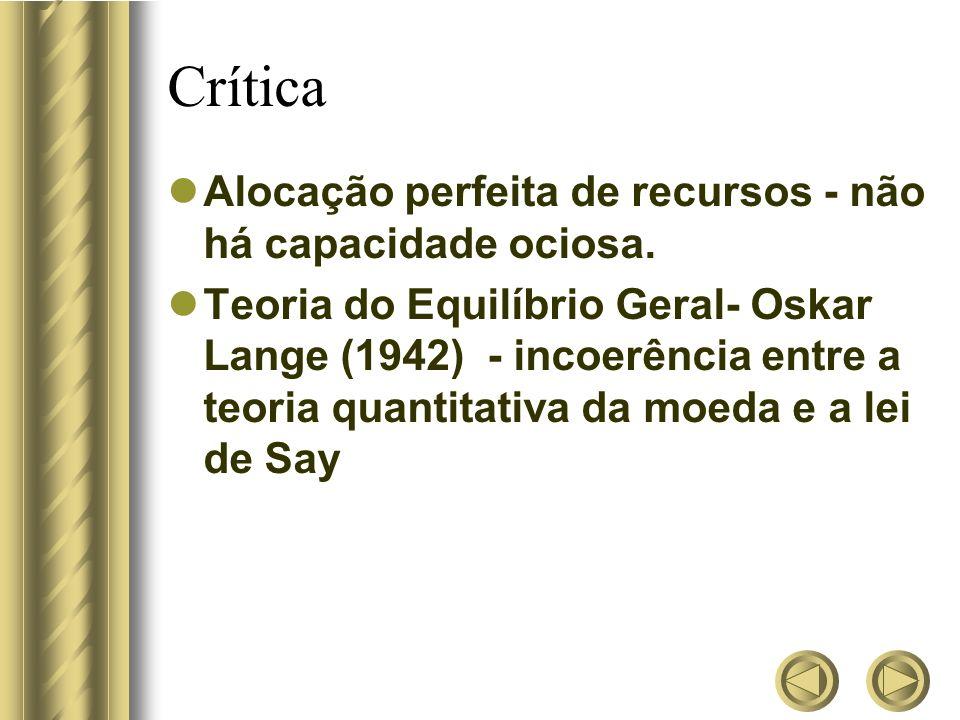 Crítica Alocação perfeita de recursos - não há capacidade ociosa. Teoria do Equilíbrio Geral- Oskar Lange (1942) - incoerência entre a teoria quantita