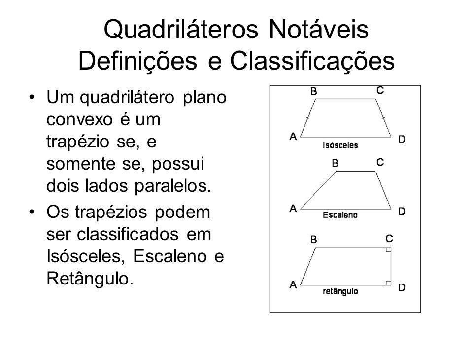 Quadriláteros Notáveis Definições e Classificações Um quadrilátero plano convexo é um trapézio se, e somente se, possui dois lados paralelos. Os trapé