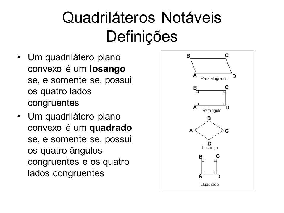 Quadriláteros Notáveis Propriedades do Paralelogramo Ângulos opostos congruentes Lados opostos congruentes Diagonais que se dividem ao meio