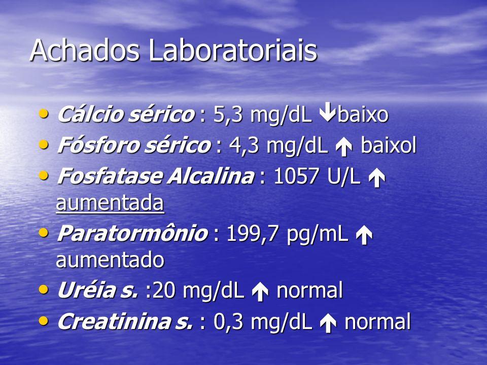 Evolução do caso Paciente estava sendo acompanhado no HC apresentando sinais clínicos e radiológicos de raquitismo que impossibilitava deambulação.