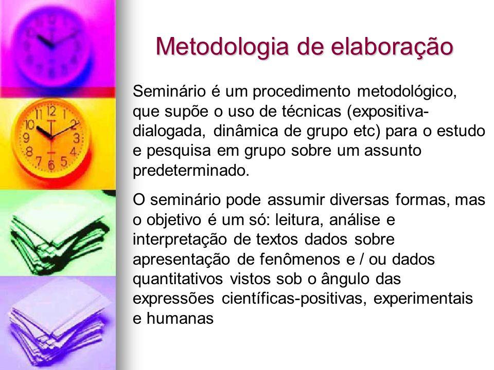 Metodologia de elaboração Seminário é um procedimento metodológico, que supõe o uso de técnicas (expositiva- dialogada, dinâmica de grupo etc) para o