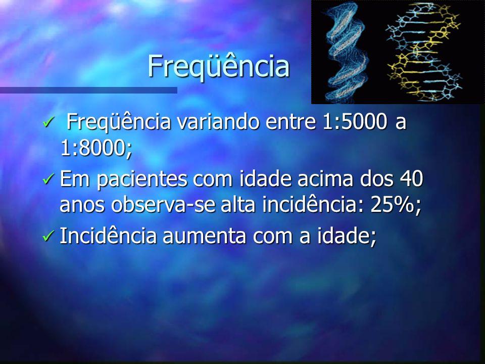 Freqüência Freqüência Freqüência variando entre 1:5000 a 1:8000; Freqüência variando entre 1:5000 a 1:8000; Em pacientes com idade acima dos 40 anos o