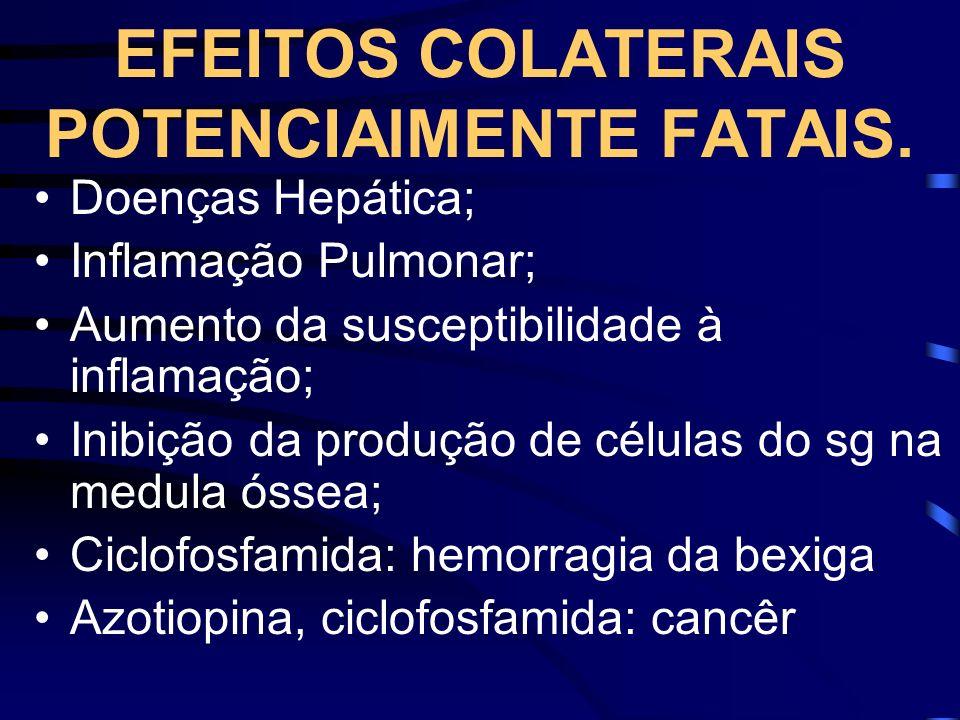 EFEITOS COLATERAIS POTENCIAlMENTE FATAIS. Doenças Hepática; Inflamação Pulmonar; Aumento da susceptibilidade à inflamação; Inibição da produção de cél