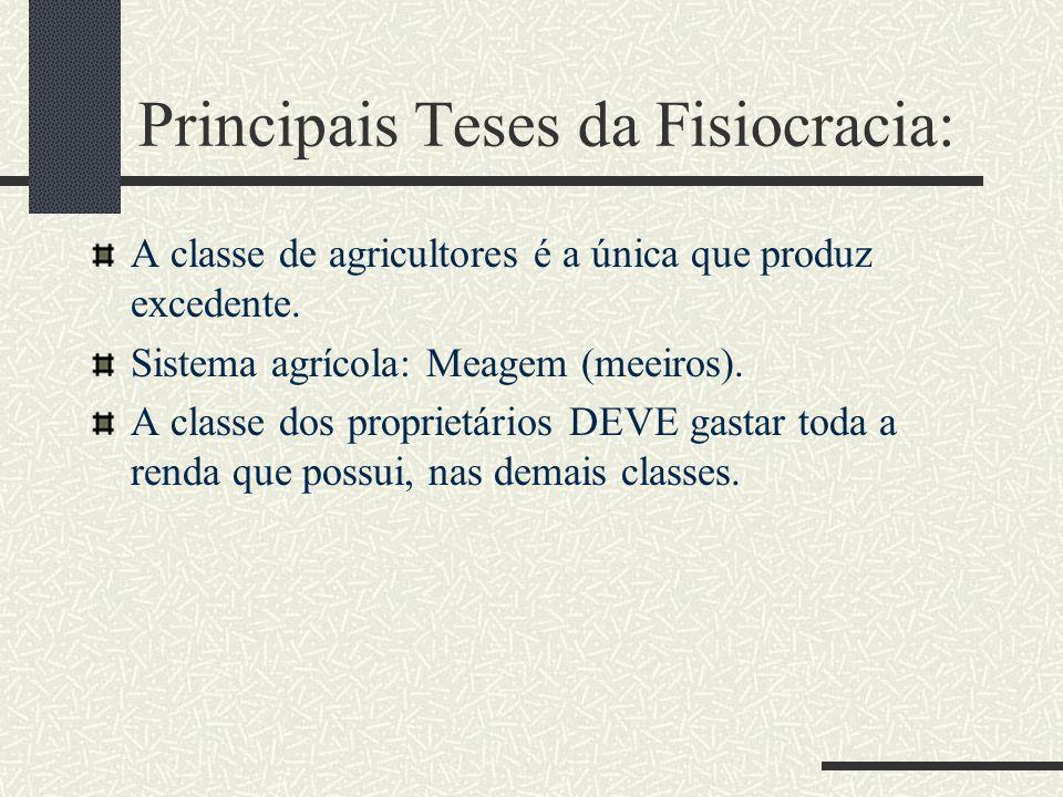 Principais Teses da Fisiocracia: A classe de agricultores é a única que produz excedente. Sistema agrícola: Meagem (meeiros). A classe dos proprietári