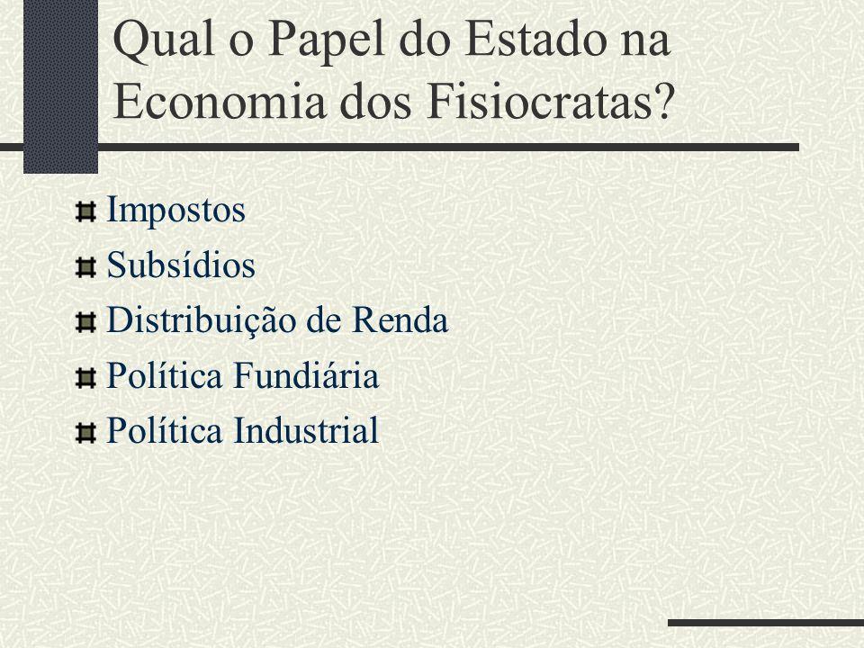 Qual o Papel do Estado na Economia dos Fisiocratas? Impostos Subsídios Distribuição de Renda Política Fundiária Política Industrial