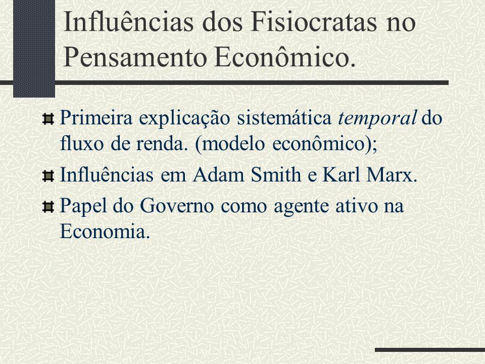 Influências dos Fisiocratas no Pensamento Econômico. Primeira explicação sistemática temporal do fluxo de renda. (modelo econômico); Influências em Ad