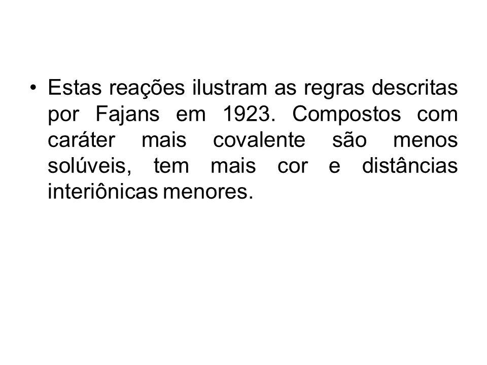 Estas reações ilustram as regras descritas por Fajans em 1923. Compostos com caráter mais covalente são menos solúveis, tem mais cor e distâncias inte