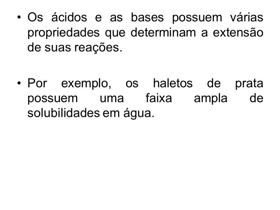 Os ácidos e as bases possuem várias propriedades que determinam a extensão de suas reações. Por exemplo, os haletos de prata possuem uma faixa ampla d