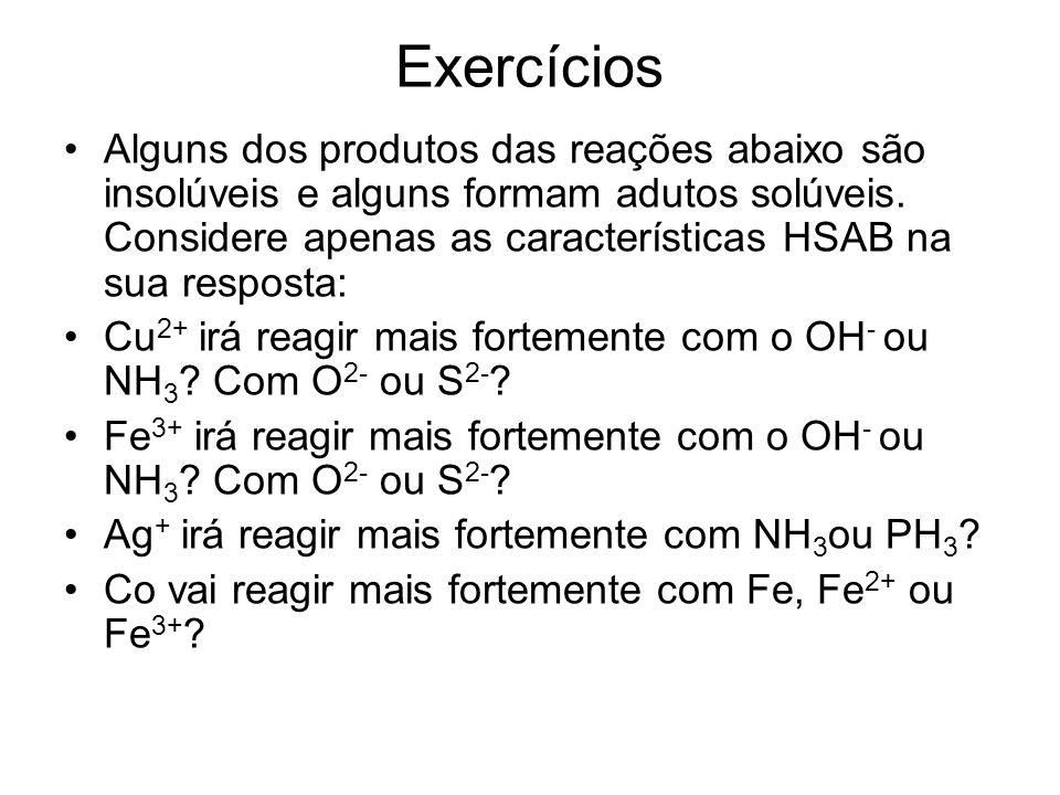 Exercícios Alguns dos produtos das reações abaixo são insolúveis e alguns formam adutos solúveis. Considere apenas as características HSAB na sua resp