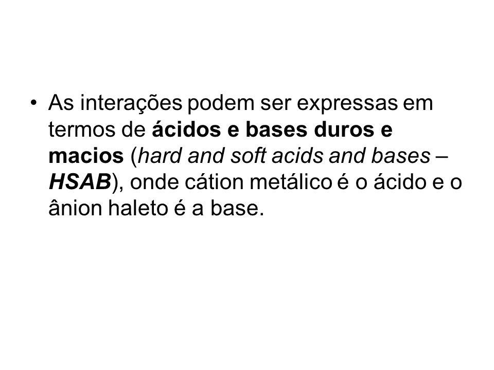 As interações podem ser expressas em termos de ácidos e bases duros e macios (hard and soft acids and bases – HSAB), onde cátion metálico é o ácido e
