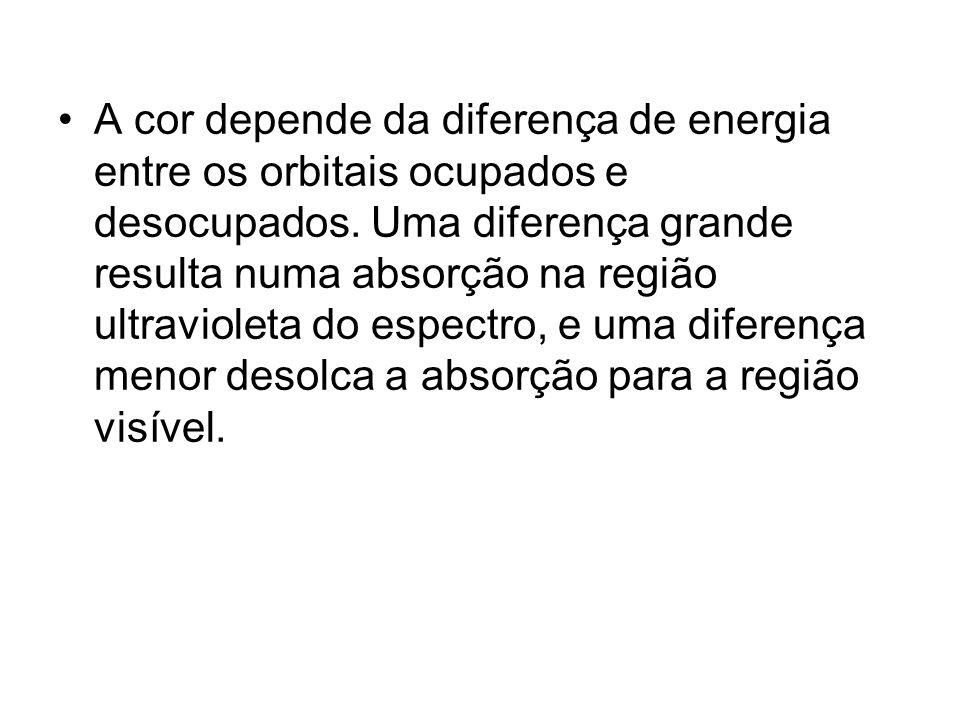 A cor depende da diferença de energia entre os orbitais ocupados e desocupados. Uma diferença grande resulta numa absorção na região ultravioleta do e