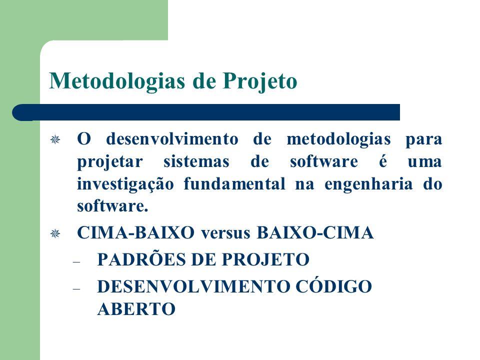 Metodologias de Projeto O desenvolvimento de metodologias para projetar sistemas de software é uma investigação fundamental na engenharia do software.