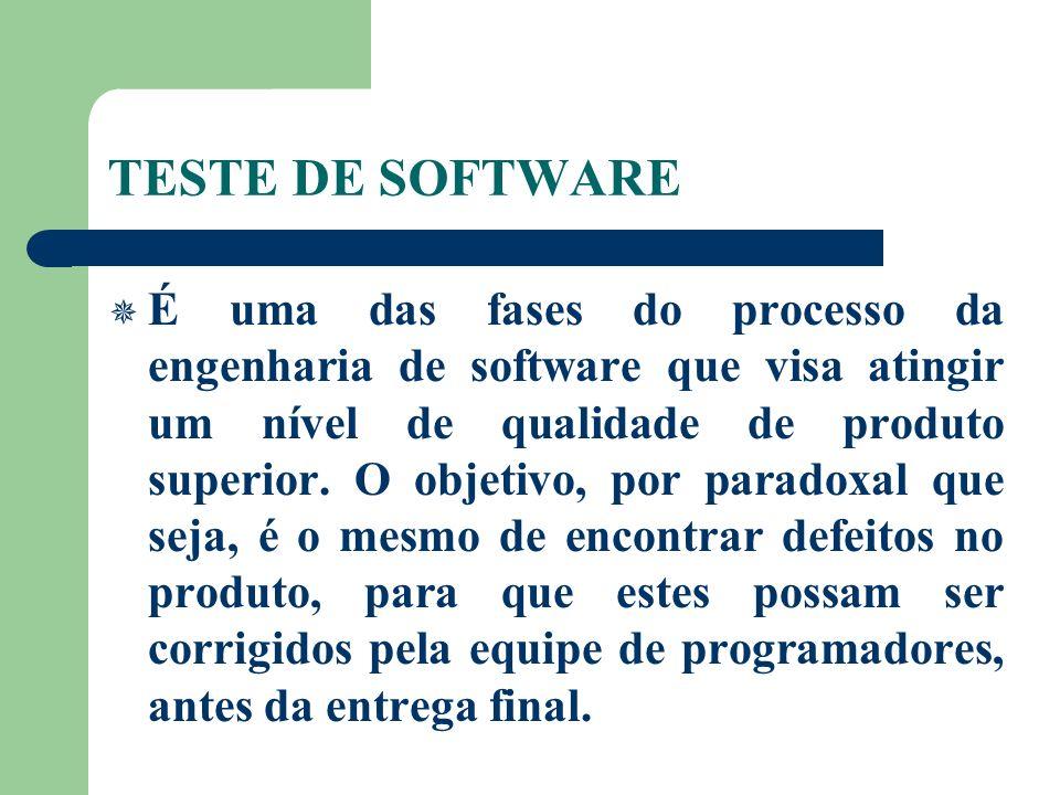 TESTE DE SOFTWARE É uma das fases do processo da engenharia de software que visa atingir um nível de qualidade de produto superior. O objetivo, por pa
