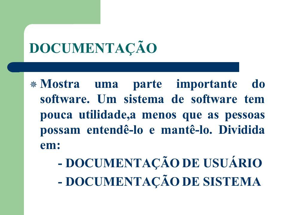DOCUMENTAÇÃO Mostra uma parte importante do software. Um sistema de software tem pouca utilidade,a menos que as pessoas possam entendê-lo e mantê-lo.