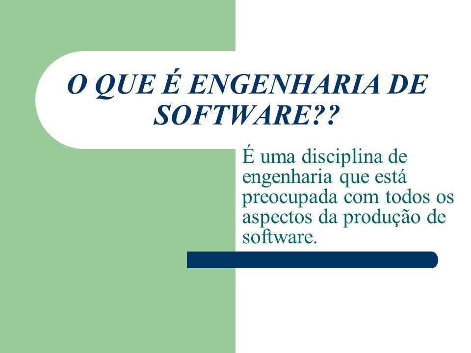 O QUE É ENGENHARIA DE SOFTWARE?? É uma disciplina de engenharia que está preocupada com todos os aspectos da produção de software.