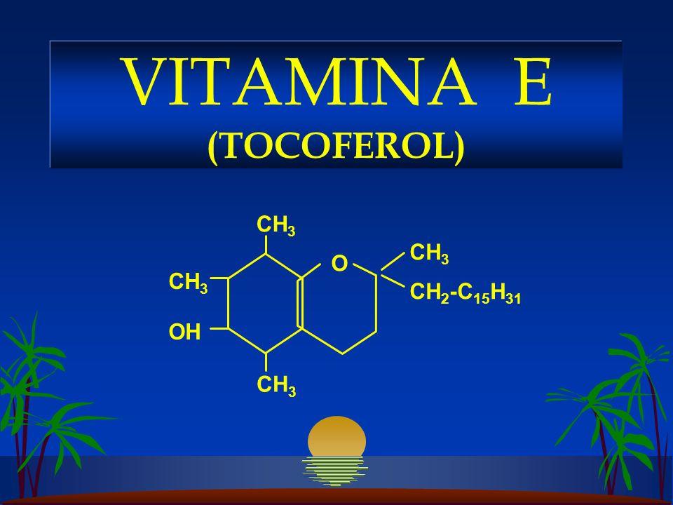 CH 3 O OH CH 2 -C 15 H 31 VITAMINA E (TOCOFEROL)