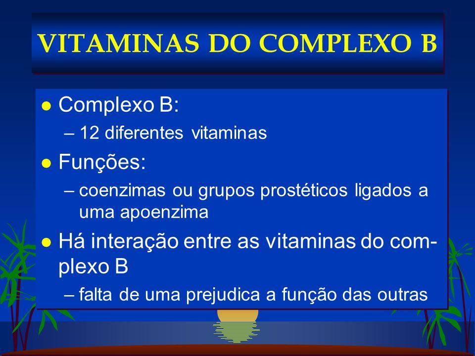 l Complexo B: –12 diferentes vitaminas l Funções: –coenzimas ou grupos prostéticos ligados a uma apoenzima l Há interação entre as vitaminas do com- plexo B –falta de uma prejudica a função das outras l Complexo B: –12 diferentes vitaminas l Funções: –coenzimas ou grupos prostéticos ligados a uma apoenzima l Há interação entre as vitaminas do com- plexo B –falta de uma prejudica a função das outras VITAMINAS DO COMPLEXO B