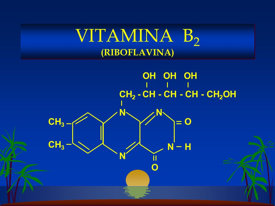 CH 2 - CH - CH - CH - CH 2 OH N CH 3 N NN O O H OH VITAMINA B 2 (RIBOFLAVINA)