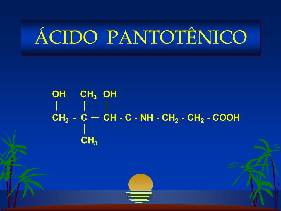 CH 2 - C CH - C - NH - CH 2 - CH 2 - COOH OHCH 3 OH ÁCIDO PANTOTÊNICO