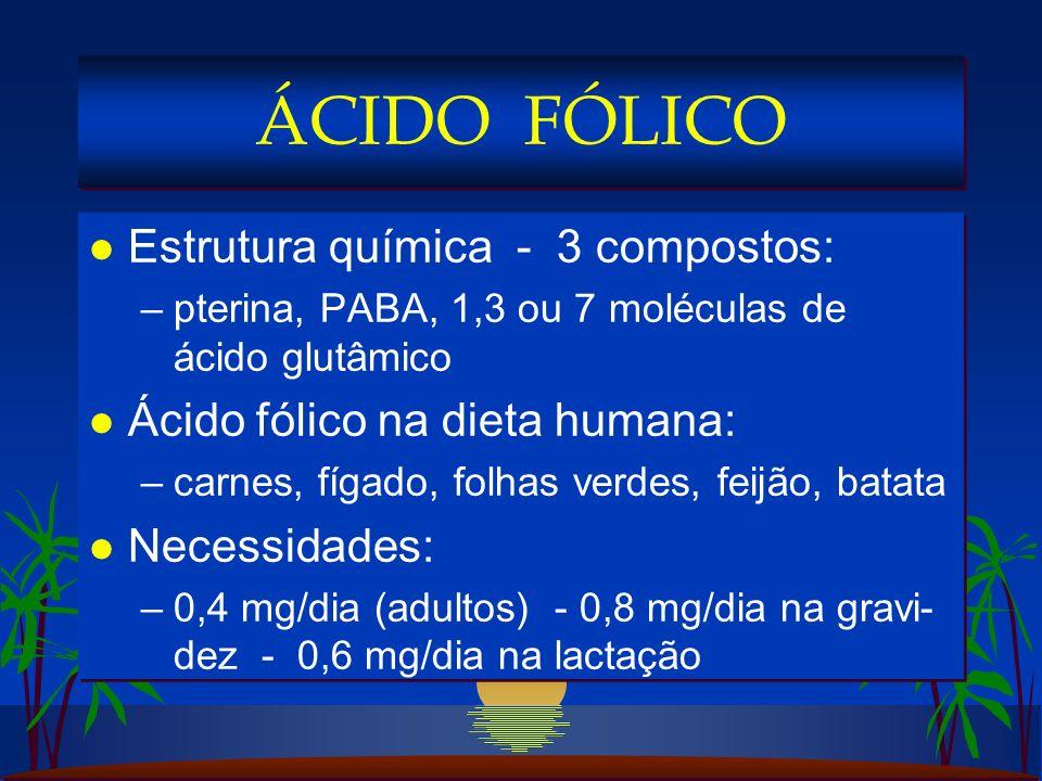 l Estrutura química - 3 compostos: –pterina, PABA, 1,3 ou 7 moléculas de ácido glutâmico l Ácido fólico na dieta humana: –carnes, fígado, folhas verdes, feijão, batata l Necessidades: –0,4 mg/dia (adultos) - 0,8 mg/dia na gravi- dez - 0,6 mg/dia na lactação l Estrutura química - 3 compostos: –pterina, PABA, 1,3 ou 7 moléculas de ácido glutâmico l Ácido fólico na dieta humana: –carnes, fígado, folhas verdes, feijão, batata l Necessidades: –0,4 mg/dia (adultos) - 0,8 mg/dia na gravi- dez - 0,6 mg/dia na lactação ÁCIDO FÓLICO